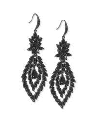 Carolee | Black Hematitetone Crystal Chandelier Earrings | Lyst
