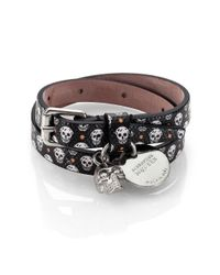 Alexander McQueen - Black Printed Leather Bracelet for Men - Lyst