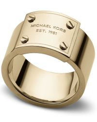 Michael Kors | Metallic Heritage Plaque Ring - Ring Size O - S/M | Lyst