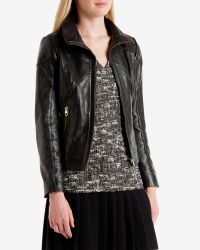 Ted Baker | Black Shearling Trim Leather Jacket | Lyst