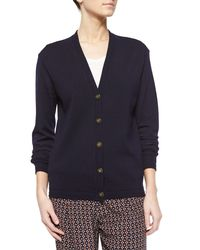 Tory Burch | Blue Madison Wool V-neck Cardigan | Lyst