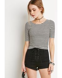 Forever 21 - Black Ribbed Stripe Crop Top You've Been Added To The Waitlist - Lyst
