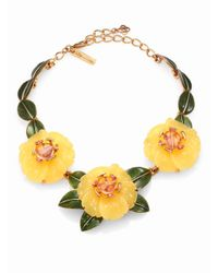 Oscar de la Renta | Yellow Embellished Floral Statement Necklace | Lyst