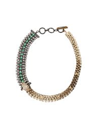 Iosselliani - Green Crystal Pavé Panther Necklace - Lyst