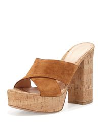 Gianvito Rossi - Brown Criss-Cross Suede Mules - Lyst