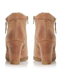 Dune | Brown Pacino Zip Detail Wedge Boots | Lyst