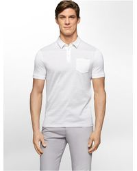 Calvin Klein - White Label Classic Fit Jacquard Stripe Cotton Polo Shirt for Men - Lyst