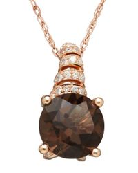 Lord & Taylor | Pink 14k Rose Gold Smokey Quartz And Diamond Pendant Necklace | Lyst