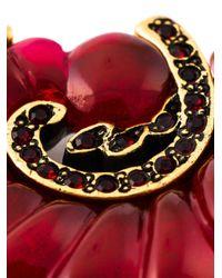 Oscar de la Renta | Red Scalloped Swirl Clip-On Earrings | Lyst