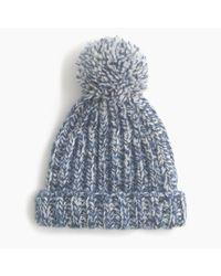 J.Crew | Blue Marled Knit Pom-pom Beanie | Lyst