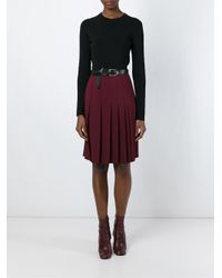 Cedric Charlier - Red Pleated Midi Skirt - Lyst