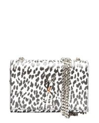 Saint Laurent - Black And White Leopard Print Leather 'Ysl' Shoulder Bag - Lyst