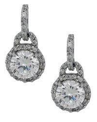 Lord & Taylor   Metallic Crystal Drop Earrings   Lyst