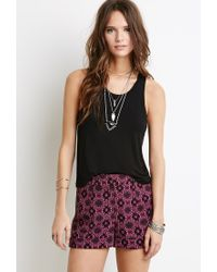 Forever 21 | Pink Ornate Floral Print Shorts | Lyst