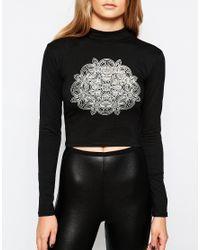 Motel | Black X Grace Neutral Turtle Neck Long Sleeve Top With Kaleidescopt Print | Lyst