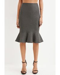 Forever 21 - Gray Fluted Pencil Skirt - Lyst