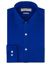 Michael Kors | Blue Michael Non-Iron Twill Solid Dress Shirt for Men | Lyst