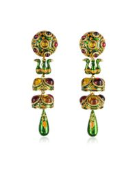 DSquared² - Green Charlotte Brass And Enamel Earrings - Lyst