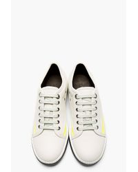Lanvin - White Light Grey Leather Neon Accent Sneakers for Men - Lyst
