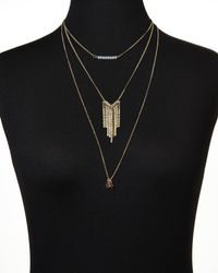 Cara - Metallic Gold-Tone Three-Tier Necklace - Lyst