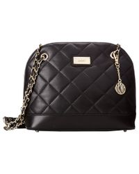DKNY | Black Gansevoort - Quilted Medium Round Satchel Crossbody W/ Adjustable Chain Handle | Lyst