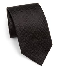 Armani - Brown Chevron Silk Tie for Men - Lyst