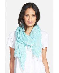 Eileen Fisher - Blue Stripe Organic Cotton Scarf - Lyst