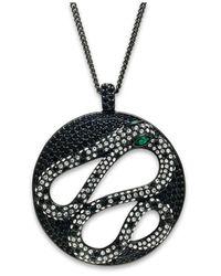 ABS By Allen Schwartz - Black Hematite-Tone Crystal Snake Pendant Necklace - Lyst