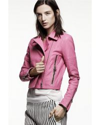 J Brand | Pink Aiah Leather Jacket in Hibiscus | Lyst