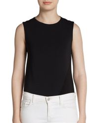 Donna Karan - Black Paneled Stretch Jersey Bodysuit - Lyst