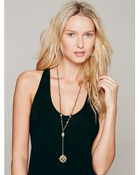 Free People - Metallic Metal Bead Rosary - Lyst