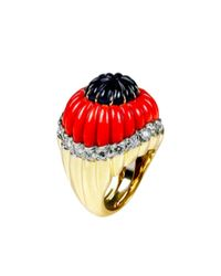 David Webb | Metallic Ring - Carved Cabochon Sapphire, Fluted Coral, brilliant-cut Diamonds, 18k Gold, And Platinum | Lyst
