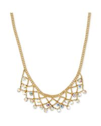 Betsey Johnson - Metallic Goldtone Crystal Net Frontal Necklace - Lyst