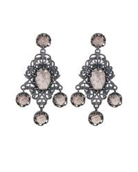 Bottega Veneta - Metallic Classic Oxidised-silver Intrecciato Drop Earrings - Lyst