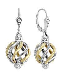 Lagos - Metallic Silver 18k Gold Soiree Circular Swirl Drop Earrings - Lyst
