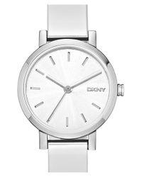 DKNY - Metallic 'soho' Round Logo Bangle Watch - Lyst