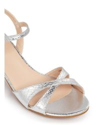 Stuart Weitzman - Metallic 'Verna Meg' Snakeskin Effect Leather Junior Sandals - Lyst