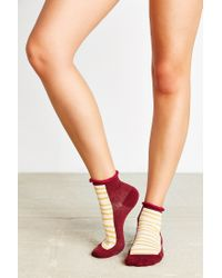 Urban Outfitters - Red Geo Patterned Anklet Sock - Lyst