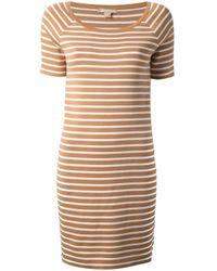 Michael Kors - Brown Striped Tshirt Dress - Lyst