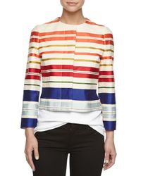 Stella McCartney - Green Short Striped Jacket - Lyst