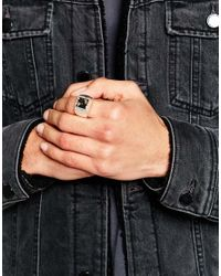 ASOS - Metallic Signet Ring With Semi Precious Stone for Men - Lyst