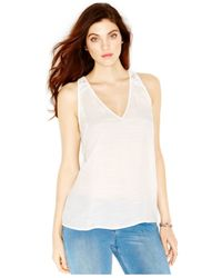 Guess | White Lace-back Tank Top | Lyst