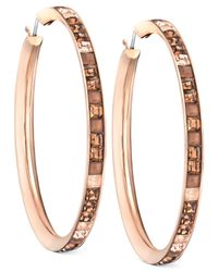 Swarovski | Pink Victor  Rolf Frozen Rose Gold-tone Hoop Earrings | Lyst