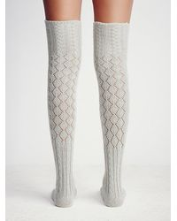 Free People | Gray Womens Filomena Over The Knee Sock | Lyst