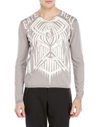 Richmond Denim - White V-Neck Graphic Sweater for Men - Lyst