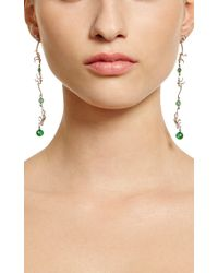 Marc Alary Green 18k White Gold Monkey Earrings with Raw Emeralds
