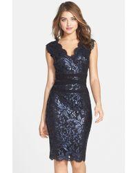 Tadashi Shoji | Blue Embellished Metallic Lace Sheath Dress (Regular & Petite) | Lyst