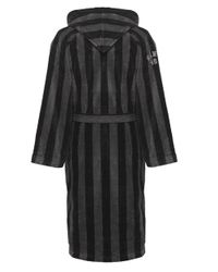Gant - Black Hooded Stripe Bathrobe for Men - Lyst