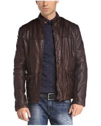 BOSS Orange - Brown Sheepskin Leather Jacket 'jerian' for Men - Lyst