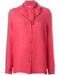 Tomas Maier - Pink Lace-up Collar Blouse - Lyst